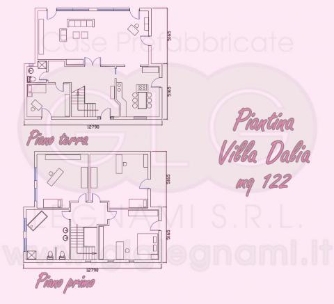 Piantina Casa prefabbricata ecologica Villa Dalia