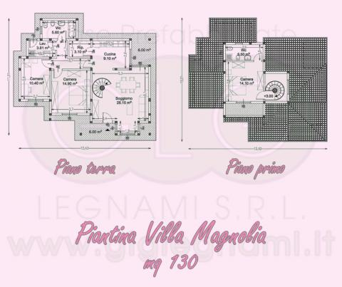 Piantina Casa prefabbricata ecologica Villa Magnolia
