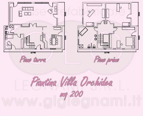 Piantina Casa prefabbricata ecologica Villa Orchidea
